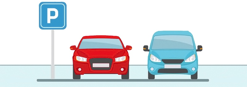 Parking lot with two cars on light blue background.